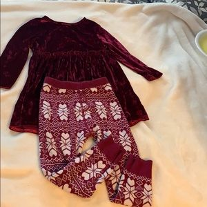 Tunic dress and leggings.